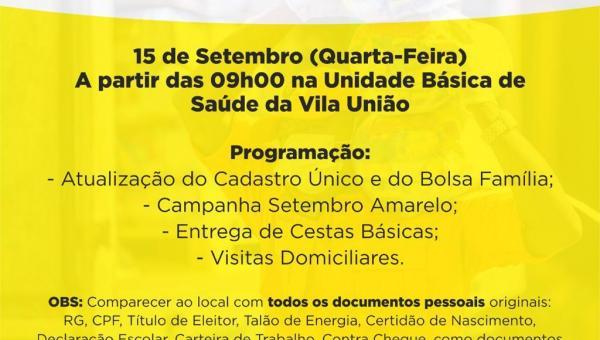 Secretaria de Assistência Social estará realizando uma mobilização no Distrito de Vila União Quarta-Feira(15/09)