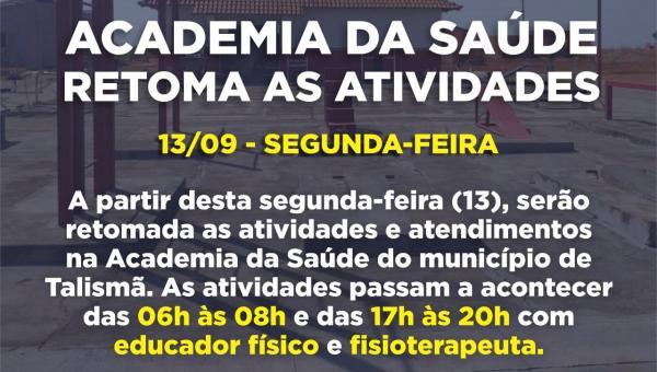 Secretaria de Saúde informa a retomada das atividades da Academia da Saúde à partir de Sedunda-Feira (13/09)